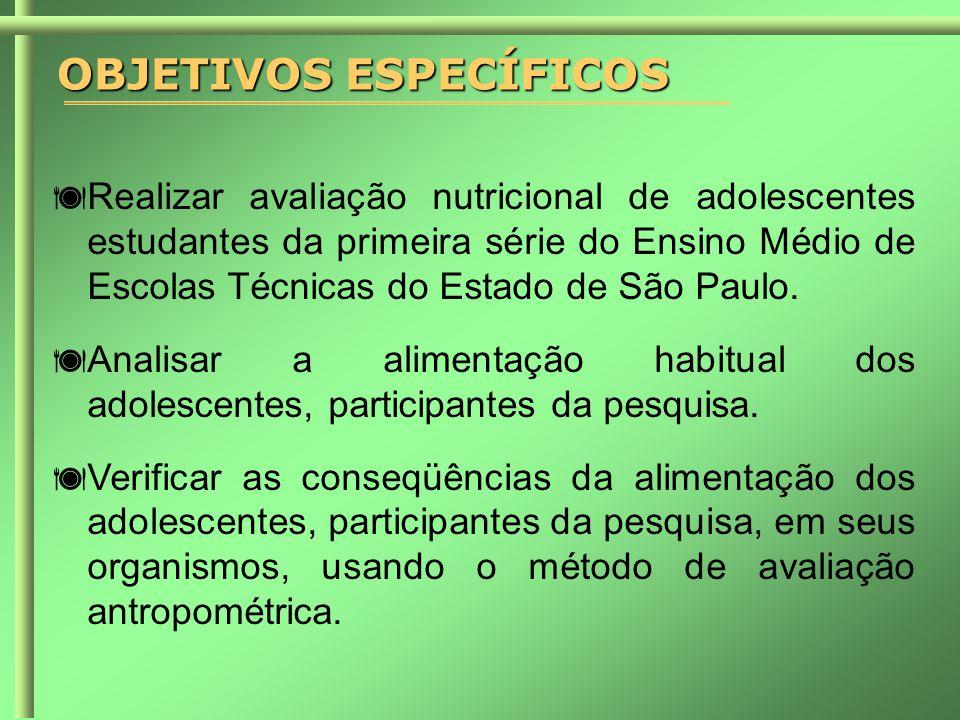 OBJETIVOS ESPECÍFICOS  Realizar avaliação nutricional de adolescentes estudantes da primeira série do Ensino Médio de Escolas Técnicas do Estado de São Paulo.