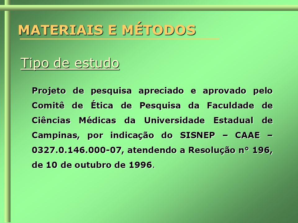 MATERIAIS E MÉTODOS Tipo de estudo Projeto de pesquisa apreciado e aprovado pelo Comitê de Ética de Pesquisa da Faculdade de Ciências Médicas da Universidade Estadual de Campinas, por indicação do SISNEP – CAAE – 0327.0.146.000-07, atendendo a Resolução n° 196, de 10 de outubro de 1996.