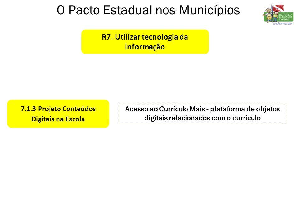 7.1.3 Projeto Conteúdos Digitais na Escola Acesso ao Currículo Mais - plataforma de objetos digitais relacionados com o currículo O Pacto Estadual nos