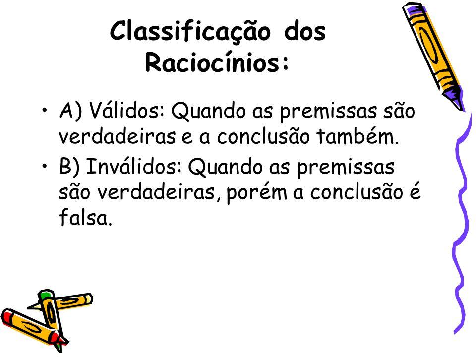 Classificação dos Raciocínios: •A) Válidos: Quando as premissas são verdadeiras e a conclusão também. •B) Inválidos: Quando as premissas são verdadeir