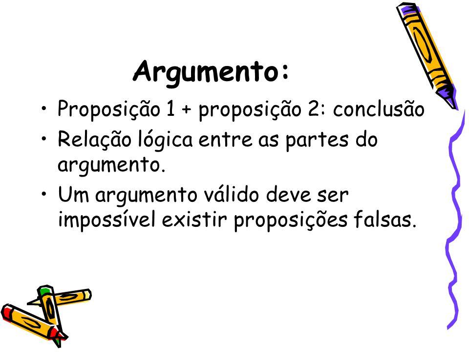 Argumento: •Proposição 1 + proposição 2: conclusão •Relação lógica entre as partes do argumento. •Um argumento válido deve ser impossível existir prop