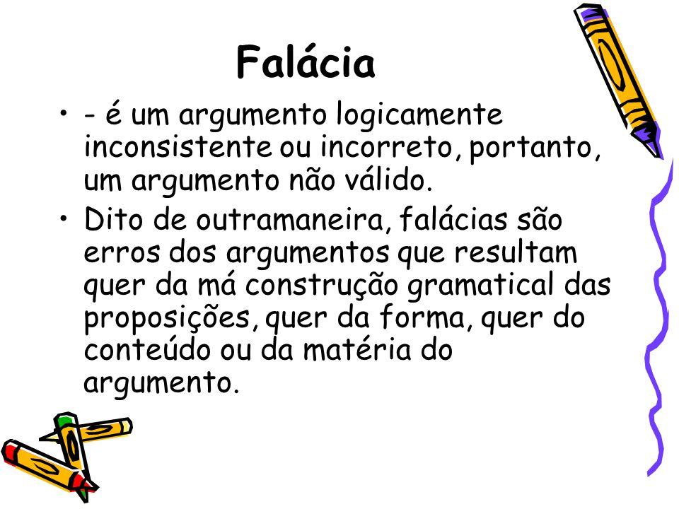 Falácia •- é um argumento logicamente inconsistente ou incorreto, portanto, um argumento não válido. •Dito de outramaneira, falácias são erros dos arg