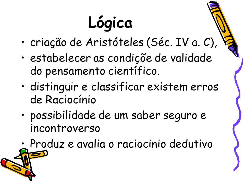 Lógica •criação de Aristóteles (Séc. IV a. C), •estabelecer as condiçõe de validade do pensamento científico. •distinguir e classificar existem erros
