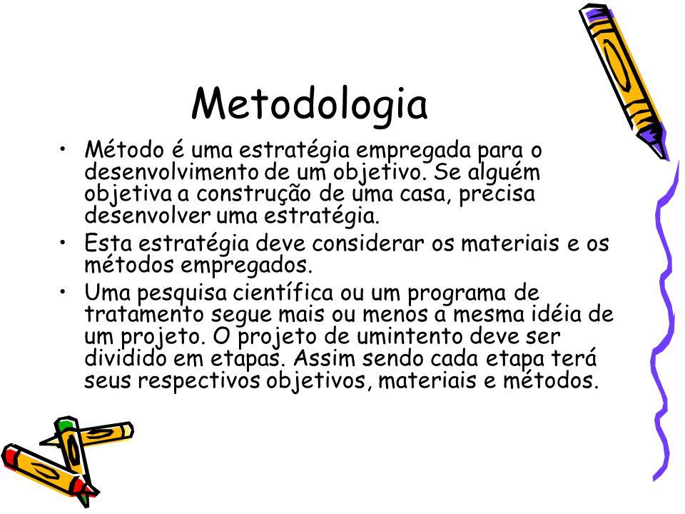 Metodologia •Método é uma estratégia empregada para o desenvolvimento de um objetivo. Se alguém objetiva a construção de uma casa, precisa desenvolver