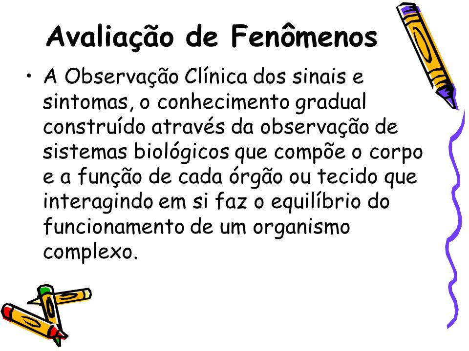 Avaliação de Fenômenos •A Observação Clínica dos sinais e sintomas, o conhecimento gradual construído através da observação de sistemas biológicos que