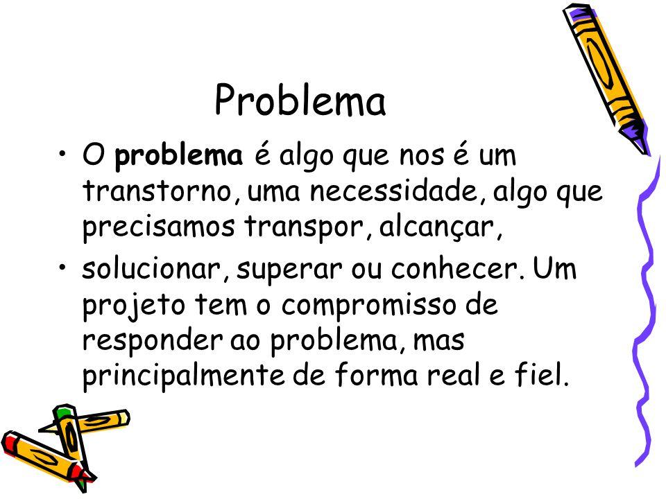 Problema •O problema é algo que nos é um transtorno, uma necessidade, algo que precisamos transpor, alcançar, •solucionar, superar ou conhecer. Um pro