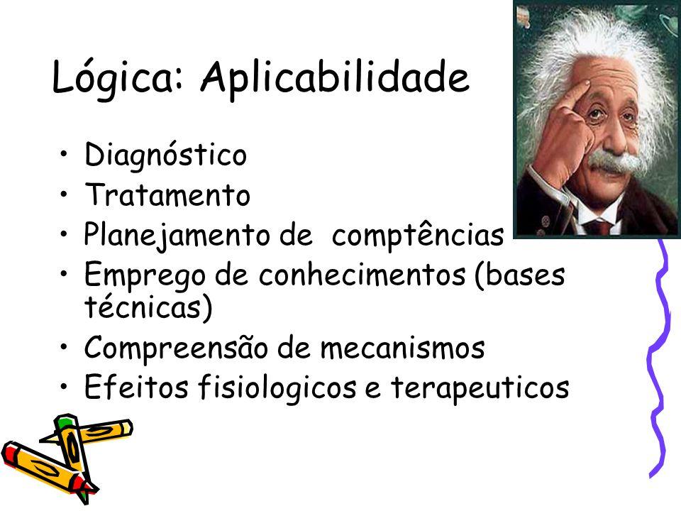 Lógica: Aplicabilidade •Diagnóstico •Tratamento •Planejamento de comptências •Emprego de conhecimentos (bases técnicas) •Compreensão de mecanismos •Ef