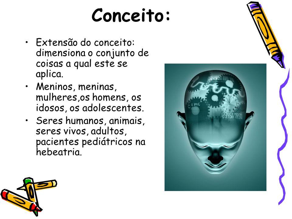 Conceito: •Extensão do conceito: dimensiona o conjunto de coisas a qual este se aplica. •Meninos, meninas, mulheres,os homens, os idosos, os adolescen