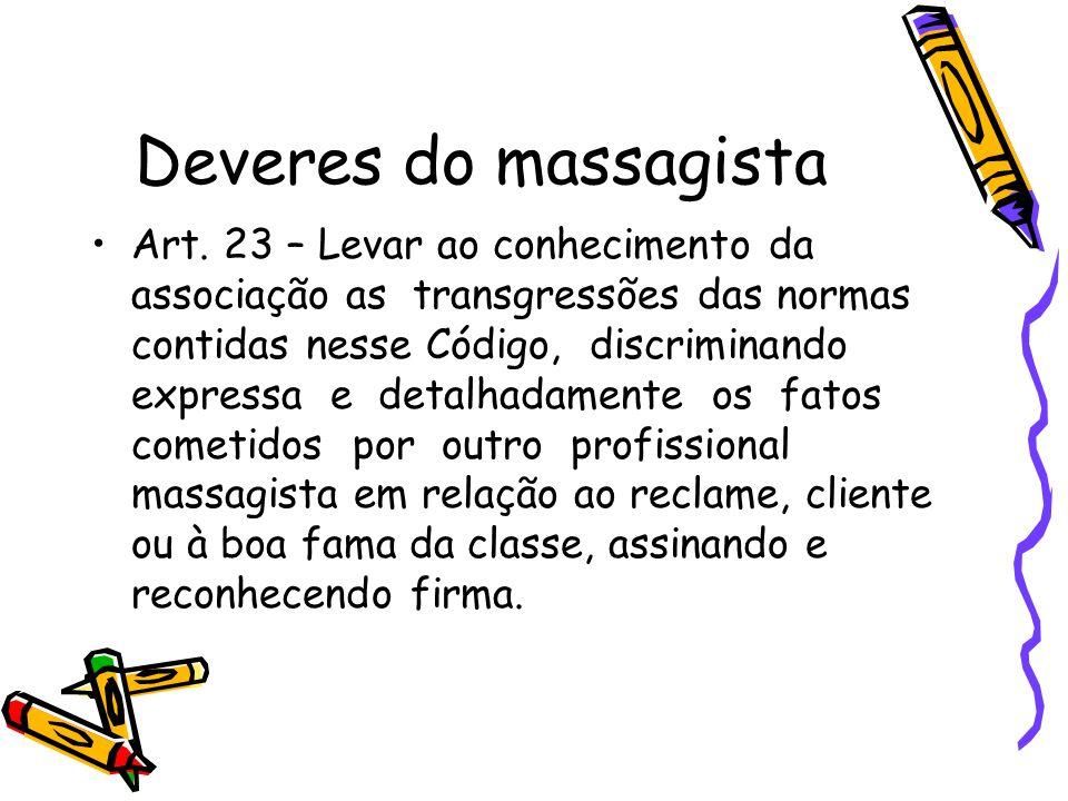 Deveres do massagista •Art. 23 – Levar ao conhecimento da associação as transgressões das normas contidas nesse Código, discriminando expressa e detal