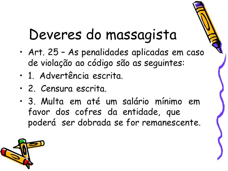 Deveres do massagista •Art. 25 – As penalidades aplicadas em caso de violação ao código são as seguintes: •1. Advertência escrita. •2. Censura escrita