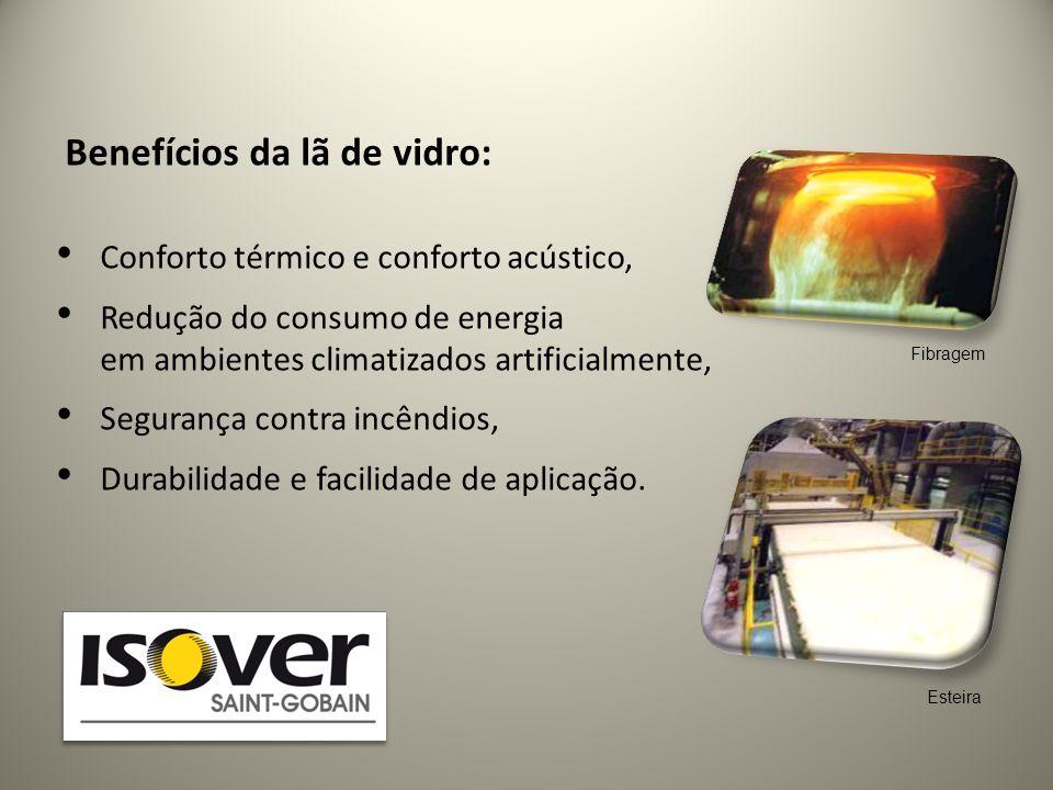 Benefícios da lã de vidro: • Conforto térmico e conforto acústico, • Redução do consumo de energia em ambientes climatizados artificialmente, • Segura