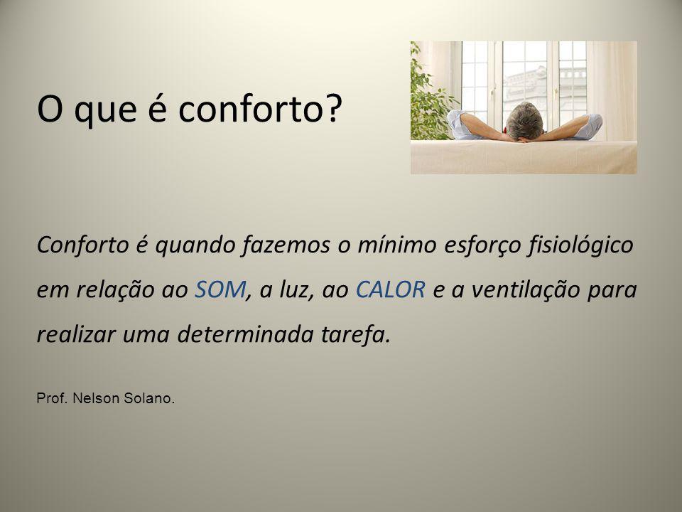 O que é conforto? Conforto é quando fazemos o mínimo esforço fisiológico em relação ao SOM, a luz, ao CALOR e a ventilação para realizar uma determina