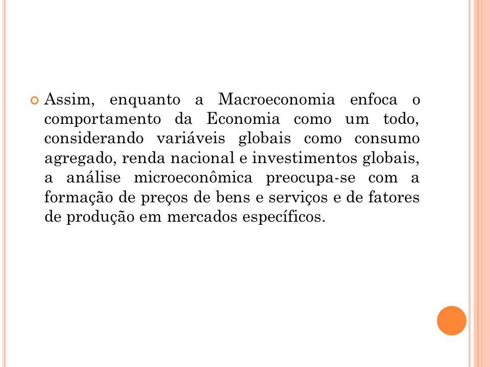 Assim, enquanto a Macroeconomia enfoca o comportamento da Economia como um todo, considerando variáveis globais como consumo agregado, renda nacional