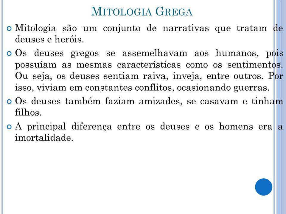 M ITOLOGIA G REGA Mitologia são um conjunto de narrativas que tratam de deuses e heróis. Os deuses gregos se assemelhavam aos humanos, pois possuíam a