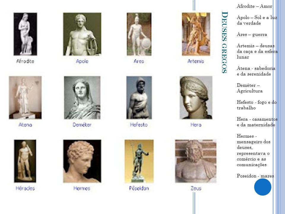 D EUSES GREGOS Afrodite – Amor Apolo – Sol e a luz da verdade Ares – guerra Artemis – deusas da caça e da esfera lunar Atena - sabedoria e da serenida