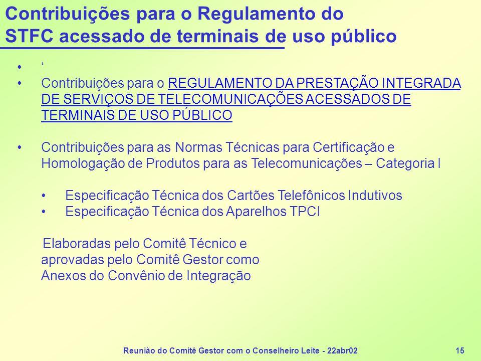Reunião do Comitê Gestor com o Conselheiro Leite - 22abr0215 Contribuições para o Regulamento do STFC acessado de terminais de uso público •' •Contrib