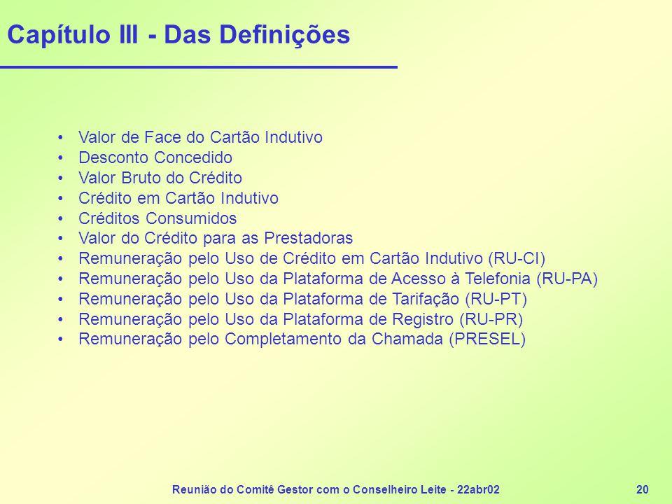 Reunião do Comitê Gestor com o Conselheiro Leite - 22abr0220 Capítulo III - Das Definições •Valor de Face do Cartão Indutivo •Desconto Concedido •Valo