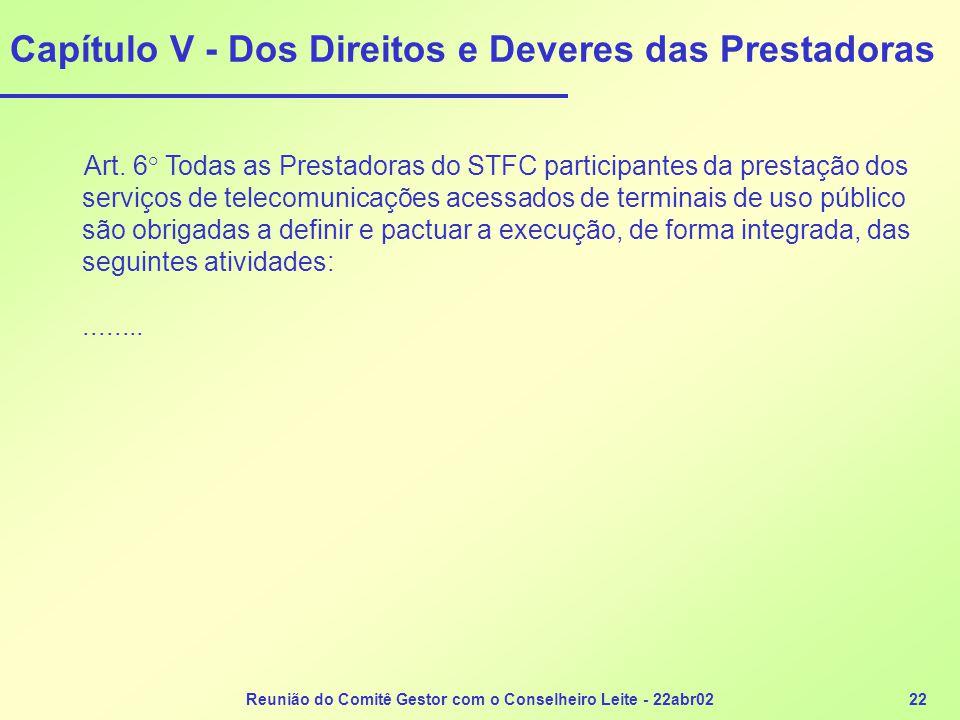 Reunião do Comitê Gestor com o Conselheiro Leite - 22abr0222 Capítulo V - Dos Direitos e Deveres das Prestadoras Art. 6° Todas as Prestadoras do STFC