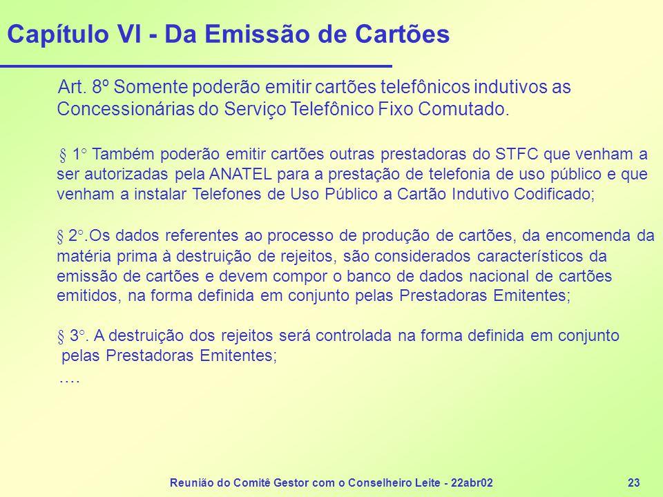 Reunião do Comitê Gestor com o Conselheiro Leite - 22abr0223 Capítulo VI - Da Emissão de Cartões Art. 8º Somente poderão emitir cartões telefônicos in