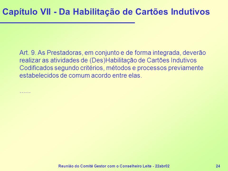 Reunião do Comitê Gestor com o Conselheiro Leite - 22abr0224 Capítulo VII - Da Habilitação de Cartões Indutivos Art. 9. As Prestadoras, em conjunto e