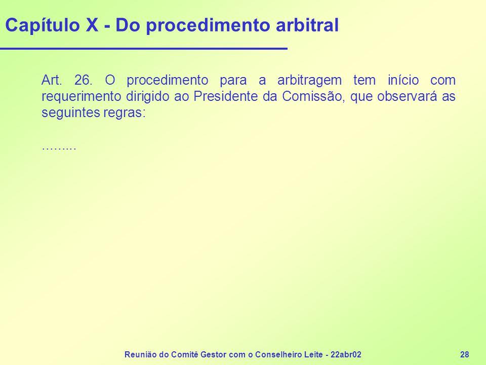 Reunião do Comitê Gestor com o Conselheiro Leite - 22abr0228 Capítulo X - Do procedimento arbitral Art. 26. O procedimento para a arbitragem tem iníci