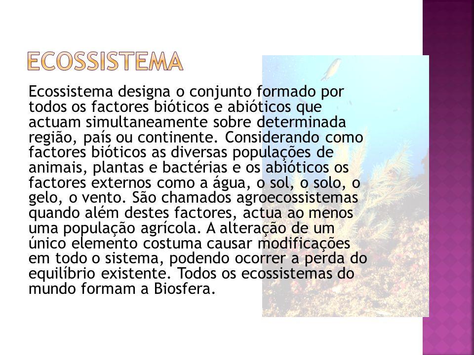 Ecossistema designa o conjunto formado por todos os factores bióticos e abióticos que actuam simultaneamente sobre determinada região, país ou continente.