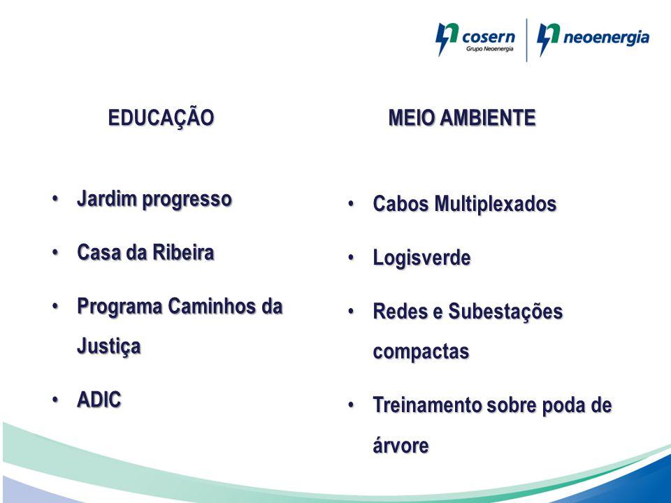 EDUCAÇÃO • Jardim progresso • Casa da Ribeira • Programa Caminhos da Justiça • ADIC • Cabos Multiplexados • Logisverde • Redes e Subestações compactas