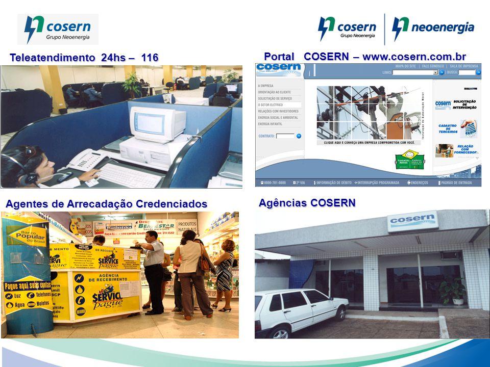 Portal COSERN – www.cosern.com.br Agências COSERN Teleatendimento 24hs – 116 Teleatendimento 24hs – 116 Agentes de Arrecadação Credenciados