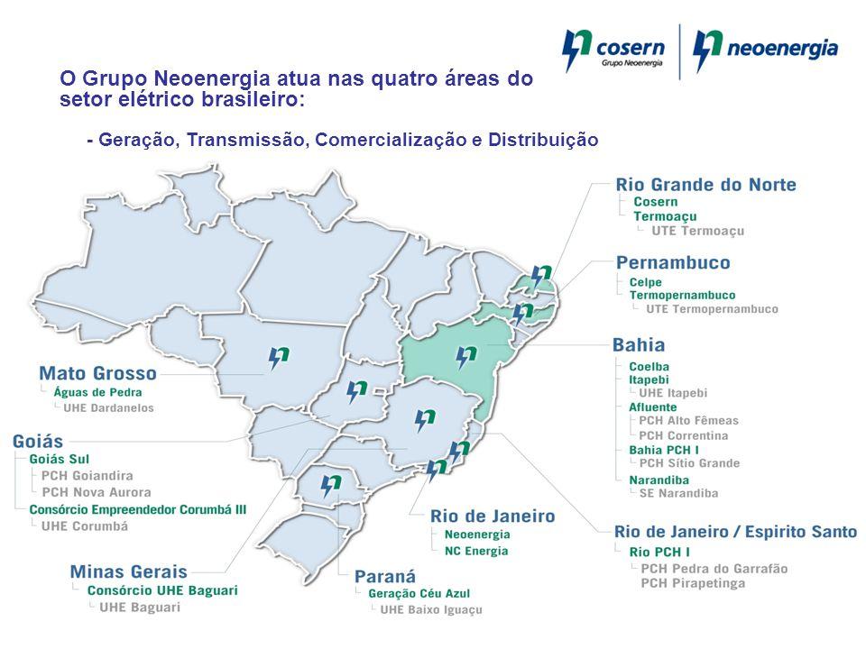 O Grupo Neoenergia atua nas quatro áreas do setor elétrico brasileiro: - Geração, Transmissão, Comercialização e Distribuição