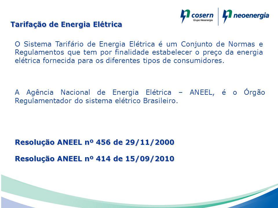 O Sistema Tarifário de Energia Elétrica é um Conjunto de Normas e Regulamentos que tem por finalidade estabelecer o preço da energia elétrica fornecid