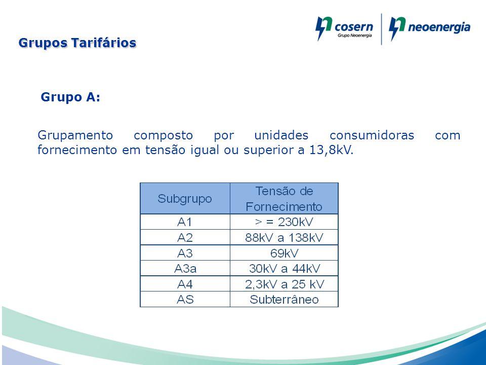 Grupo A: Grupamento composto por unidades consumidoras com fornecimento em tensão igual ou superior a 13,8kV. Grupos Tarifários