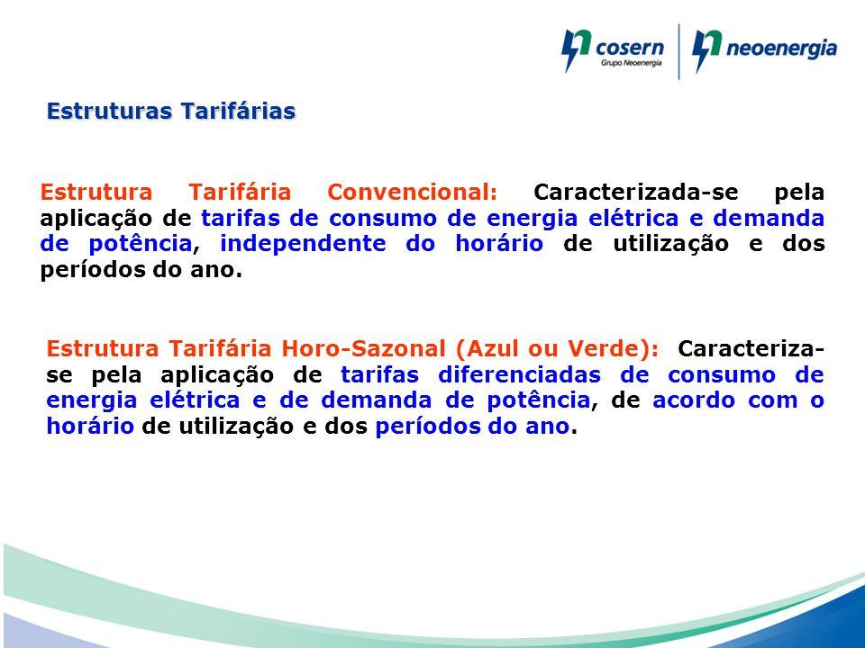 Estruturas Tarifárias Estrutura Tarifária Convencional: Caracterizada-se pela aplicação de tarifas de consumo de energia elétrica e demanda de potênci