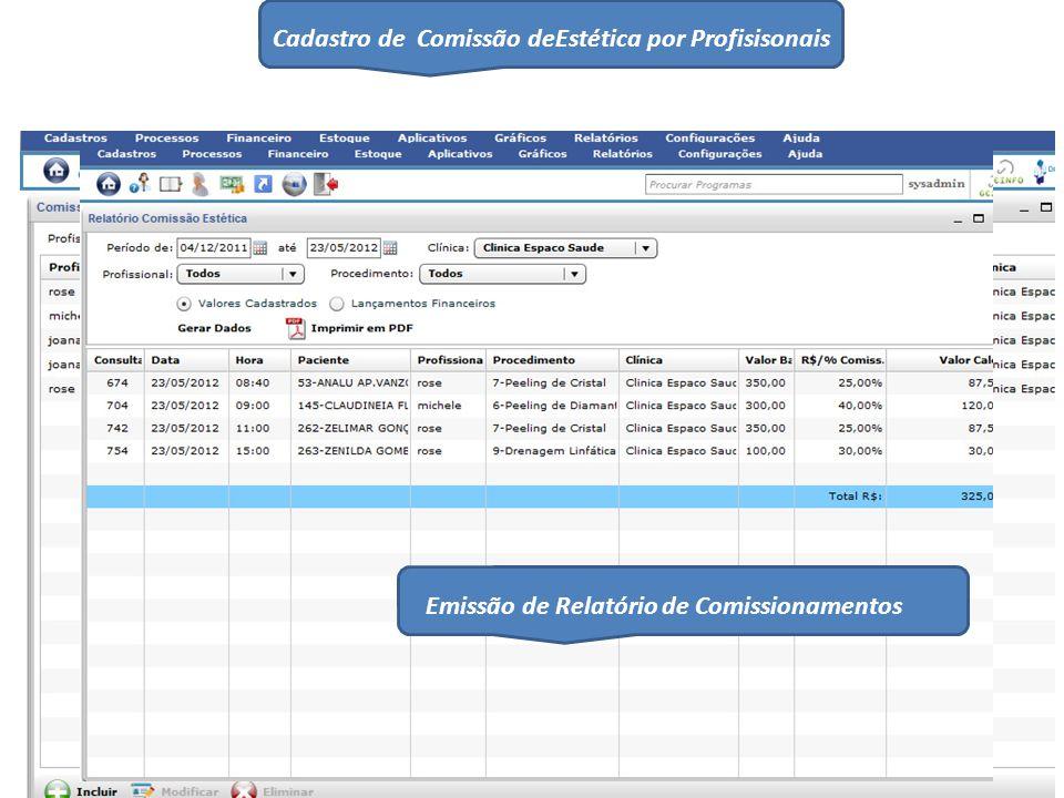 Cadastro de Comissão deEstética por Profisisonais Emissão de Relatório de Comissionamentos