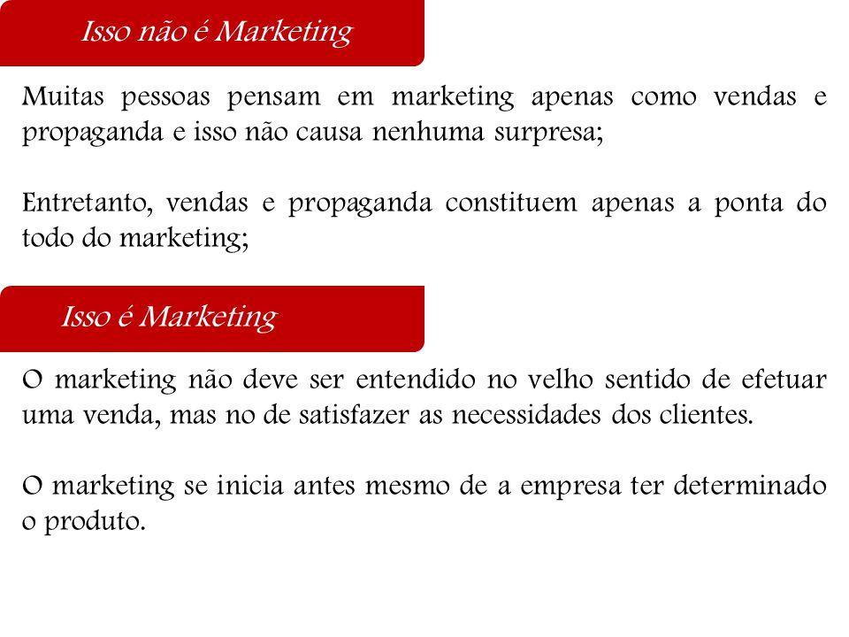 Várias são as definições  Marketing é um processo administrativo e social pelo qual indivíduos e grupos obtêm o que necessitam e desejam, por meio da criação, oferta e troca de produtos e valor com os outros;  Marketing é a entrega de satisfação para o cliente em forma de benefício;  A função do marketing mais do que qualquer outra nos negócios é lidar com os clientes;  Entender, criar, comunicar e proporcionar ao cliente valor e satisfação constituem a essência do pensamento e da prática do marketing moderno;  Os dois principais objetivos do marketing são: atrair novos clientes, prometendo-lhes valor superior e manter os clientes atuais propiciando- lhes satisfação.