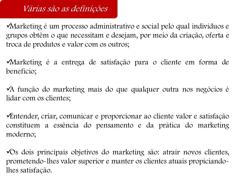 Várias são as definições  Marketing é um processo administrativo e social pelo qual indivíduos e grupos obtêm o que necessitam e desejam, por meio da