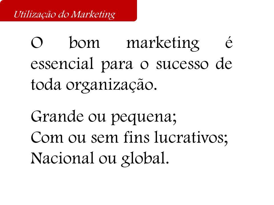 O bom marketing é essencial para o sucesso de toda organização. Grande ou pequena; Com ou sem fins lucrativos; Nacional ou global. Utilização do Marke