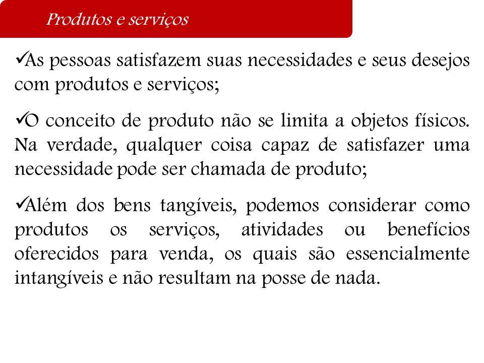 Produtos e serviços  As pessoas satisfazem suas necessidades e seus desejos com produtos e serviços;  O conceito de produto não se limita a objetos