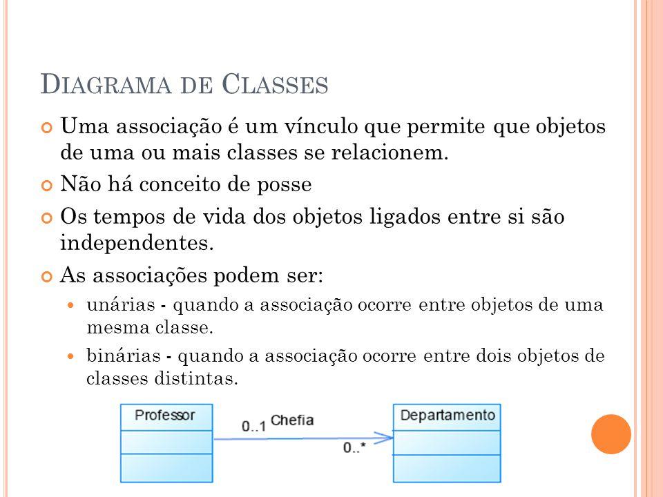 D IAGRAMA DE C LASSES Uma associação é um vínculo que permite que objetos de uma ou mais classes se relacionem. Não há conceito de posse Os tempos de