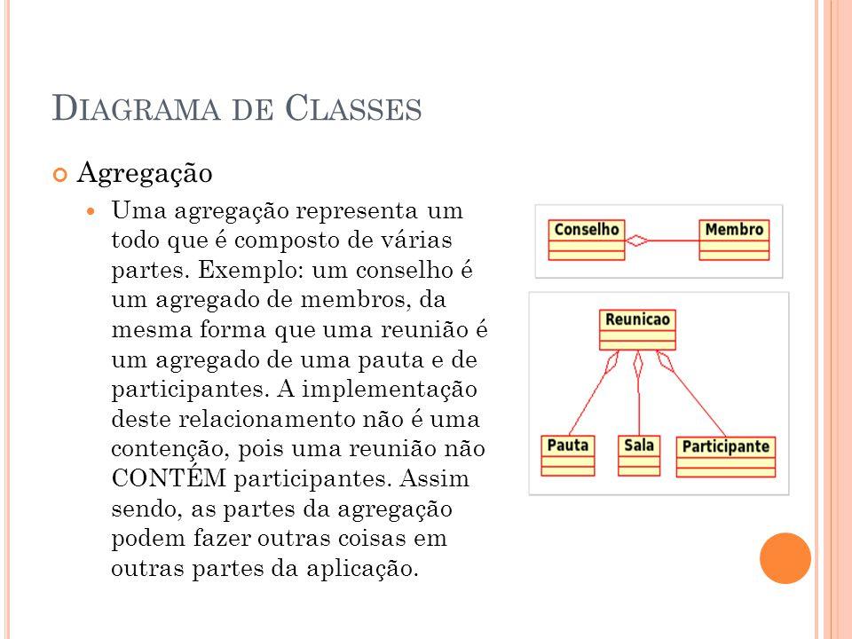 D IAGRAMA DE C LASSES Agregação  Uma agregação representa um todo que é composto de várias partes. Exemplo: um conselho é um agregado de membros, da