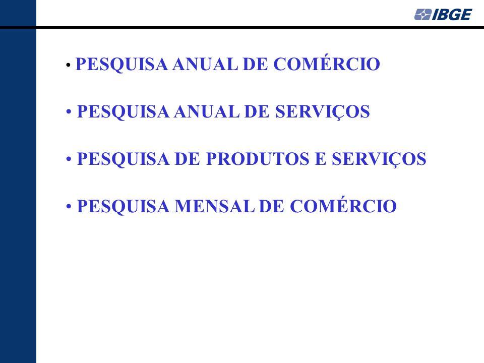 • PESQUISA ANUAL DE COMÉRCIO • PESQUISA ANUAL DE SERVIÇOS • PESQUISA DE PRODUTOS E SERVIÇOS • PESQUISA MENSAL DE COMÉRCIO