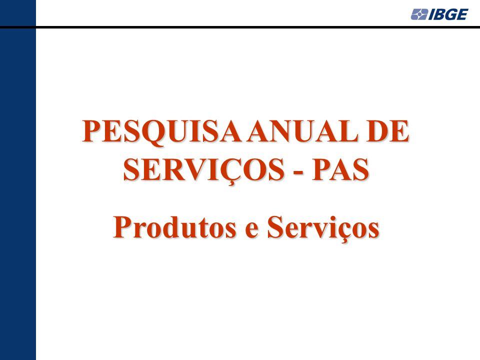 PESQUISA ANUAL DE SERVIÇOS - PAS Produtos e Serviços