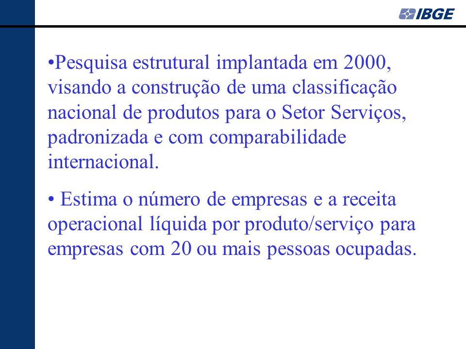 •Pesquisa estrutural implantada em 2000, visando a construção de uma classificação nacional de produtos para o Setor Serviços, padronizada e com compa