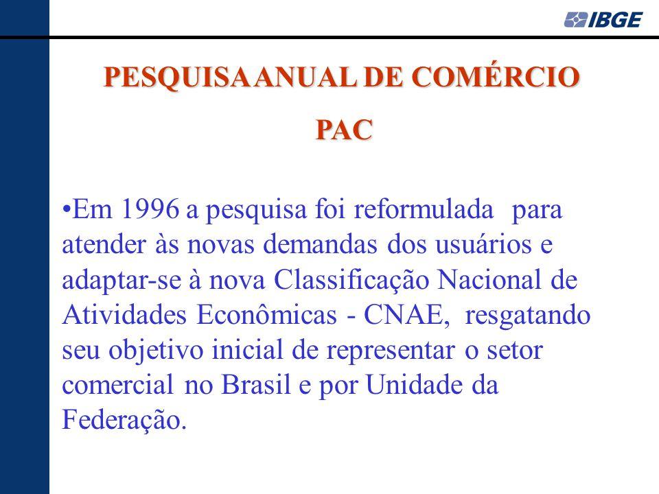 PESQUISA ANUAL DE COMÉRCIO PAC •Em 1996 a pesquisa foi reformulada para atender às novas demandas dos usuários e adaptar-se à nova Classificação Nacio