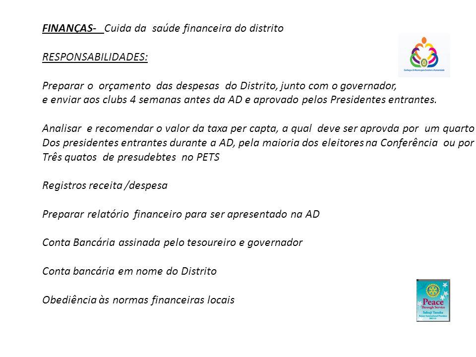 FINANÇAS- Cuida da saúde financeira do distrito RESPONSABILIDADES: Preparar o orçamento das despesas do Distrito, junto com o governador, e enviar aos