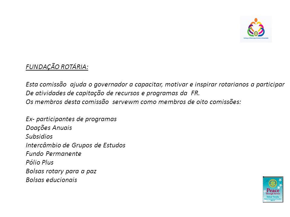 FUNDAÇÃO ROTÁRIA: Esta comissão ajuda o governador a capacitar, motivar e inspirar rotarianos a participar De atividades de capitação de recursos e programas da FR.