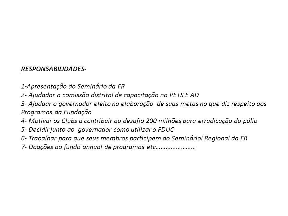 RESPONSABILIDADES- 1-Apresentação do Seminário da FR 2- Ajudadar a comissão distrital de capacitação no PETS E AD 3- Ajudaar o governador eleito na el