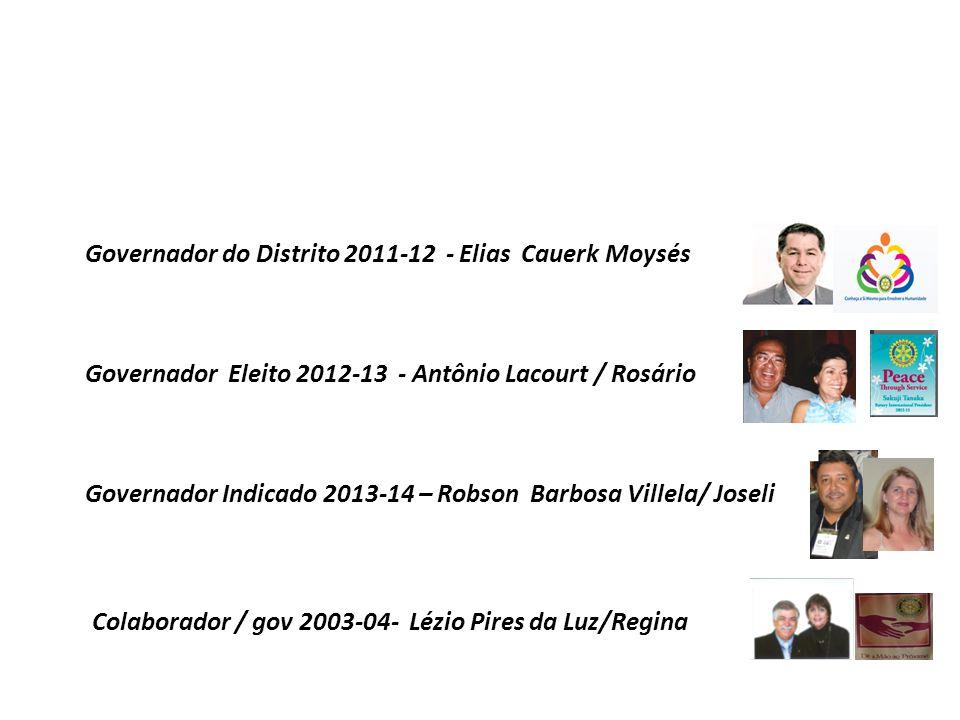 Governador do Distrito 2011-12 - Elias Cauerk Moysés Governador Eleito 2012-13 - Antônio Lacourt / Rosário Colaborador / gov 2003-04- Lézio Pires da Luz/Regina Governador Indicado 2013-14 – Robson Barbosa Villela/ Joseli