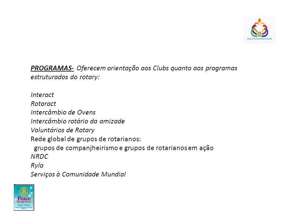 PROGRAMAS- Oferecem orientação aos Clubs quanto aos programas estruturados do rotary: Interact Rotaract Intercâmbio de Ovens Intercâmbio rotário da am