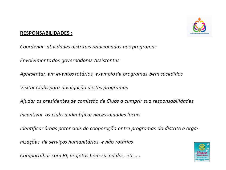RESPONSABILIDADES : Coordenar atividades distritais relacionadas aos programas Envolvimento dos governadores Assistentes Apresentar, em eventos rotári