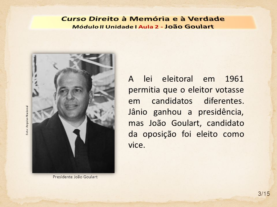 3/15 A lei eleitoral em 1961 permitia que o eleitor votasse em candidatos diferentes. Jânio ganhou a presidência, mas João Goulart, candidato da oposi